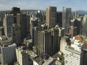 A view of the Vancouver's downtown core. Vancouver is the business capital of British Columbia.