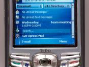 Photograph of a Palm Treo 750 Smartphone, branded for use on the AT&T (formerly Cingular) wireless network in the US).