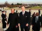 Secretary of Defense William S. Cohen (right) escorts visiting Prime Minister Nawaz Sharif of Pakistan.