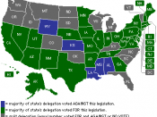 English: Map detailing the Emergency Economic Stabilization Act of 2008 second House vote.