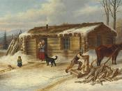 English: Daily Chores, oil painting by Cornelius Krieghoff, 11.75 x 20.75 in.