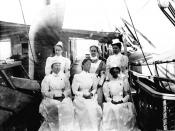 English: Nurses on the Army Hospital Ship Relief in 1898 while serving off of Cuba, US Navy Historical Center Photograph NH 92846