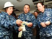 English: NEWPORT NEWS, Va. (Oct. 17, 2011) Sailors assigned to the Continuous Process Improvement Division, review ideas to increase duty section productivity levels aboard the aircraft carrier USS Theodore Roosevelt (CVN 71). Theodore Roosevelt is underg