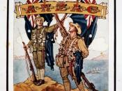 English: A New Zealand soldier stands on the left, with an Australian soldier on the right. They are holding the flags of their countries, with a Union Jack displayed above. A banner across the flags reads 'Australian and New Zealand Army Corps'. King Geo