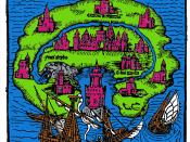 Deutsch: Titelholzschnitt aus Thomas Morus' Roman Utopia