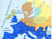 English: Historical map of Europe, french language, year 250