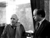 English: Dr. Hans Koechler, President of the I.P.O., mright, receiving French author Jean Genet at the Imperial Hotel in Vienna (19 December 1983) in connection with a lecture organized by the International Progress Organization Photo has been cropped to