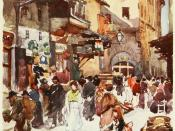 English: Study in the mercato vecchio in the year 1884, before the destruction of the ghetto. Watercolour, reproduced in Clarissa Goff, Florence & some Tuscan cities Painted by Colonel R. C. Goff · Described by Clarissa Goff, (London: A. & C. Black, 1905)