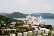 Carnival Liberty, Carnival Triumph and Carnival Glory (near to far) docked in St. Thomas, US Virgin Islands