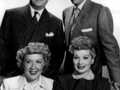Publicity photo of the I Love Lucy cast: William Frawley (Fred Mertz), Desi Arnaz (Ricky Ricardo), Vivian Vance (Ethel Mertz), Lucille Ball (Lucy Ricardo).
