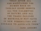 A wall-mounted quote by Jane Addams in The American Adventure in the World Showcase pavilion of Walt Disney World's Epcot.