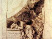 Sueño 1º. (dibujo preparatorio, 1797). Dibujo preparatorio para «El sueño de la razón produce monstruos». Tinta de bugallas a pluma, 23 X 155 mm. Inscripciones: Arriba: «Sueno 1º». En la mesa: «Ydioma universal. Dibujado y Grabado por Fco. de Goya, año 17