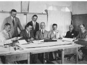English: Signing the contract for the Jerusalem Y.M.C.A. building with the general contractor. L-R, MR'S. CLARK, ADAMSON, CANAAN, GLUNKLER, VESTER, AWAD, ALBINA & KATINKKA