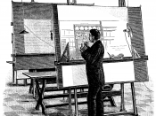 English: Architect at his drawing board. This wood engraving was published on May 25, 1893, in Teknisk Ukeblad, Norway's leading engineering journal. It illustrates an article about a new kind of upright drawing board delivered by the firm J. M. Voith in