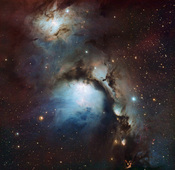 English: This new image of the reflection nebula Messier 78 was captured using the Wide Field Imager camera on the MPG/ESO 2.2-metre telescope at the La Silla Observatory, Chile. This colour picture was created from many monochrome exposures taken through