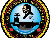 English: Insignia of the USS Theodore Roosevelt (CVN-71). Français : Insigne de l'USS Theodore Roosevelt (CVN-71).
