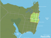 English: Suburb map of Redcliffe in the north-east of the Redcliffe peninsula in Queensland, Australia.