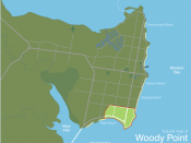 English: Suburb map of Woody Point in the south-east of the Redcliffe peninsula in Queensland, Australia.