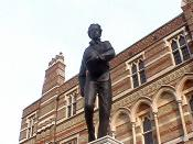 Statue of William Webb Ellis outside Rugby School.