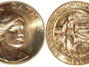 English: Obverse and reverse of 1981 Willa Cather half ounce medallion