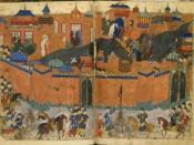 English: Mongols besieging Baghdad in 1258 Русский: Осада Багдада монголами. 1258 год.