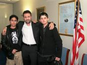 Kite Runner author Khaled Hosseini with Bahram and Elham Ehsas, who acted in the film