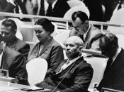 Nikita Khrushchev, leader of the Union of Soviet Socialist Republics, at a meeting of the United Nations General Assembly, New York, New York