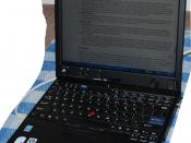 A photo of a X60 IBM Thinkpad made under license by Lenovo.