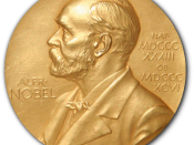 Description: Front side (obverse) of one of the Nobel Prize medals in Physiology or Medicine awarded in 1950 to researchers at the Mayo Clinic in Rochester, Minnesota.