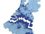 English: A map on the concentration of Belgians in the Netherlands and Dutchmen in Belgium per municipality.