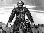 English: An 18th century engraving of a Celtic wicker man.