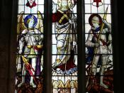 English: Great War memorial window Christ flanked by St.Michael & St.George, with the dedication ... To the greater glory of God the giver of victory and peace, in honoured memory of those who gave their lives in the Great War 1914-18, and in gratitude fo