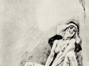 Saint Teresa's ecstasy illustrated as masturbation by Félicien Rops (1833-1898).