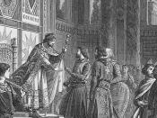 Eustace (shown with white hair) with his brothers Godfrey and Baldwin meeting with Byzantine emperor Alexius I Comnenus