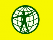 Description: World citizen flag. Authors: World Service Authority, Mistress Selina Kyle, and KAMiKAZOW.