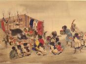 The Ainu Iomante ceremony (bear sending). Japanese scroll painting, circa 1870.