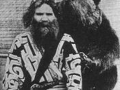 English: One Ainu man and bear 日本語: アイヌの男と熊