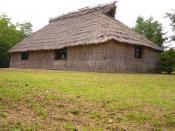 Photo of a reconstruction of an Ainu dwelling (cise) outside of the Nibutani Ainu Culture Museum in Nibutani, Hokkaido, Japan