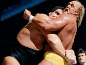 Andre the Giant applying a bear hug to Hulk Hogan in their WWF Championship match.
