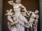 Laocoön and his sons, also known as the Laocoön Group. Copied from the original (ca. 200 BC) by the three Rhodian sculptors Agesander, Athenedoros and Polydorus. Museo Pio-Clementino, Vatican, Inv.1059, Inv.1064 and Inv. 1067. Height: 1,84 m (6').