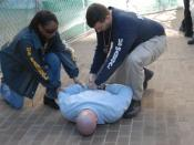 Two United States Marshals arrest a suspect.