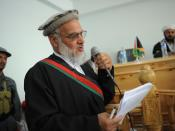 The prosecuting attorney makes a statement during a public criminal trial at the new courthouse in Asadabad, Kunar Province, Afghanistan, on Monday, May 9, 2011.