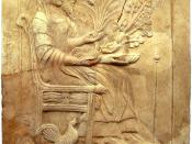 Pinax of Persephone and Hades on the throne. Found in the holy shrine of Persephone at Locri in the district Mannella. Locri was part of Magna Graecia and is situated on the coast of the Ionian Sea in Calabria in Italy.