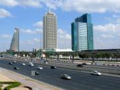 This is a photo showing Etisalat Tower 2 (on the left), Dubai World Trade Centre (n the center), and World Trade Centre Residence (on the right) on 28 December 2007. These three buildings are situated alongside Sheikh Zayed Road in Dubai, United Arab Emir