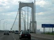 Highway 73 westbound over Pierre Laporte Bridge, Quebec, Canada