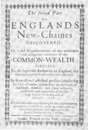Title of levellers' pamplet The Second Part of England's New Chains Discovered