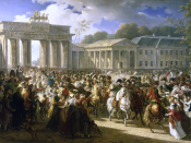 The triumphal parade of the Grande Armée in the Prussian capital of Berlin on 25 October 1806.