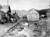 The town of Bakerville which grew up in the Cariboo Gold Rush (1865)