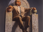 English: This image is a reproduction of an original painting by renowned science-fiction and fantasy illustrator Rowena http://www.rowenaart.com/. It depicts Dr. Isaac Asimov enthroned with symbols of his life's work. Français : Peinture de Rowena Morill