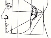 Illustration from Luca Pacioli's De Divina Proportione applies geometric proportions to the human face.